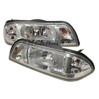 Chrome Fox Body One Piece Headlights (87-93)
