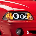 Black One Piece Projector Headlights - LED Halo (87-93 All)