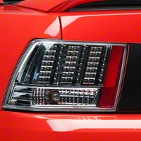 Chrome 3-Light LED Tail Lights (99-04 GT, V6, Mach 1) - AM Lights LTMST99CLEDDP