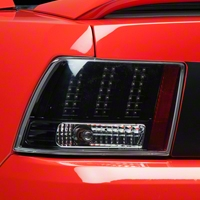Black 3-Light LED Tail Lights (99-04 GT, V6, Mach 1) - AM Lights LTMST99JMLEDDP