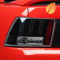 Black 3-Light LED Tail Lights (99-04 GT, V6, Mach 1) - AM Lights LT-MST99JMLED-DP