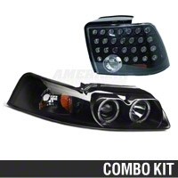Smoked Projector LED Headlight and LED Tail Light Combo (99-04 GT, V6, Mach 1)