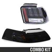 Black Projector Headlight and LED Tail Light Combo (99-04 GT, V6, Mach 1)