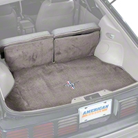 Replacement Hatch Carpet - Smoke Gray w/ Pony Logo (87-93 All) - AM Floor Mats 3296-9199-110