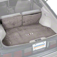Replacement Hatch Carpet - Smoke Gray w/ 5.0 Logo (87-89 All) - AM Floor Mats 3296-9199-219