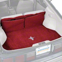 Replacement Hatch Carpet - Red w/ Pony Logo (87-93 All) - AM Floor Mats 3296-4305-110