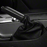 Premium Black Leather E-Brake Boot - Silver Stitch (10-14 All) - AM Interior Mustang10EbrakeSilver