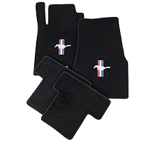 Black Floor Mats - Pony Logo (05-10 All) - AM Floor Mats 012021