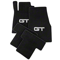 Black Floor Mats - Silver & Black GT Logo (05-10 All) - AM Floor Mats 012051