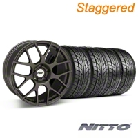 TSW Staggered Nurburingring Matte Gunmetal Wheel & NITTO Tire Kit - 18x8/9 (05-14) - TSW KIT||27350||27352||76009