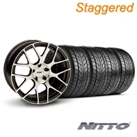 Staggered TSW Nurburingring Gunmetal Wheel & NITTO Tire Kit - 18x8/9 (05-14) - American Muscle Wheels KIT||27351||27353||76009