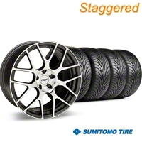 Staggered TSW Nurburingring Gunmetal Wheel & Sumitomo Tire Kit - 18x8/9 (05-14) - American Muscle Wheels KIT||27351||27353||63008