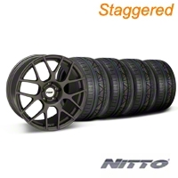 TSW Staggered Nurburingring Matte Gunmetal Wheel & NITTO INVO Tire Kit - 18x8/9 (05-14) - TSW KIT||27350||27352||79522