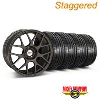 TSW Staggered Nurburingring Matte Gunmetal Wheel & Mickey Thompson Tire Kit - 18x8/9 (05-14) - TSW KIT||27350||27352||79537