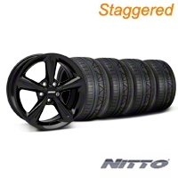 Staggered 2010 OE Style Black Wheel & NITTO INVO Tire Kit - 18x8/10 (05-14 GT, V6) - American Muscle Wheels 28253||28256||79522||79523||KIT
