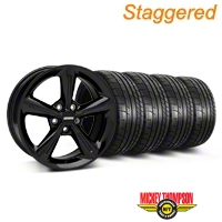 Staggered 2010 OE Style Black Wheel & Mickey Thompson Tire Kit - 18x8/10 (05-14 GT, V6) - American Muscle Wheels 28253||28256||79537||79538||KIT