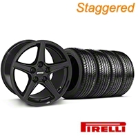 Staggered Saleen Black Wheel & Pirelli Tire Kit - 19x8.5/10 (05-14 All) - American Muscle Wheels 63101||63102||99259||99260||KIT