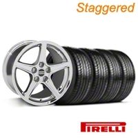 Staggered Saleen Chrome Wheel & Pirelli Tire Kit - 19x8.5/10 (05-14 All) - American Muscle Wheels 63101||63102||99261||99262||KIT