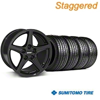 Staggered Saleen Style Black Wheel & Sumitomo Tire Kit - 19x8.5/10 (05-14 GT, V6) - American Muscle Wheels 63036||63037||99259||99260||KIT