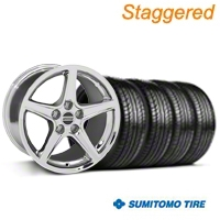 Staggered Chrome Saleen Style Wheel & Sumitomo Tire Kit - 19x8.5/10 (05-14 All) - AmericanMuscle Wheels KIT||99261||99262||63036||63037