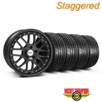 Staggered TSW Valencia Matte Black Wheel & Mickey Thompson Tire Kit - 19x8/9.5 (05-14) - American Muscle Wheels KIT||33613||33614||79539