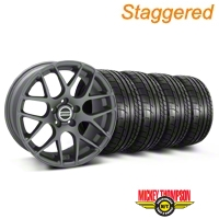Staggered AMR Charcoal Wheel & Mickey Thompson Tire Kit - 19x8.5/10 (05-14 All) - American Muscle Wheels KIT