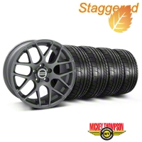 Staggered AMR Charcoal Wheel & Mickey Thompson Tire Kit - 19x8.5/10 (05-14 All) - American Muscle Wheels 28336||28387||79539||79540||KIT