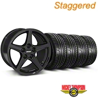 Staggered Saleen Black Wheel & Mickey Thompson Tire Kit - 19x8.5/10 (05-14 All) - American Muscle Wheels 79539||79540||99259||99260||KIT
