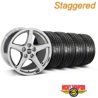 Staggered Saleen Style Chrome Wheel & Mickey Thompson Tire Kit - 19x8.5/10 (05-14 GT, V6) - American Muscle Wheels 79539||79540||99261||99262||KIT