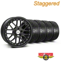 Staggered TSW Valencia Matte Black Wheel & Mickey Thompson Tire Kit - 20x8.5/10 (05-14) - American Muscle Wheels KIT||33615||33616||79541