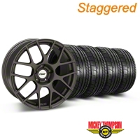 TSW Staggered Nurburing Matte Gunmetal Wheel & Mickey Thompson Tire Kit - 20x8.5/10 (05-14) - TSW KIT||27356||27358||79541