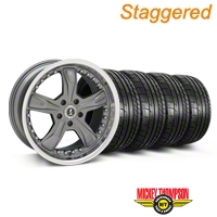 Staggered Gunmetal Shelby Razor Wheel & Mickey Thompson Tire Kit - 20x9/10 (05-14 GT, V6) - Shelby KIT||27224||27225||79541||79542