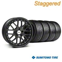TSW Staggered Valencia Matte Black Wheel & Sumitomo Tire Kit - 20x8.5/10 (05-14) - TSW KIT||33615||33616||63024