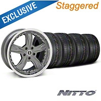 Shelby Staggered Razor Gunmetal Wheel & NITTO INVO Kit - 20x9/10 (05-14 GT, V6) - Shelby 27224||27225||79524||79525||KIT