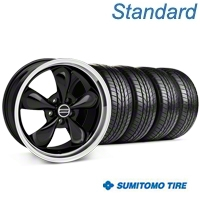 Bullitt Black Wheel & Sumitomo All Season Tire Kit - 17x9 (87-93 5 Lug Conversion) - American Muscle Wheels KIT||28261
