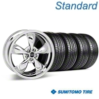 Bullitt Chrome Wheel & Sumitomo All Season Tire Kit - 17x9 (87-93 5 Lug Conversion) - American Muscle Wheels KIT||28262