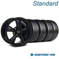 Bullitt Solid Black Wheel & Sumitomo All Season Tire Kit - 17x9 (87-93 5 Lug Conversion) - American Muscle Wheels KIT||28480