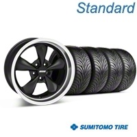 Bullitt Matte Black Wheel & Sumitomo Tire Kit - 17x9 (87-93 5 Lug Conversion) - American Muscle Wheels KIT||28301