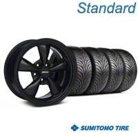 Bullitt Solid Black Wheel & Sumitomo Tire Kit - 17x9 (87-93 5 Lug Conversion) - American Muscle Wheels KIT||28480