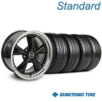 Bullitt Motorsport Black Wheel & Sumitomo All Season Tire Kit - 18x9 (87-93 5 Lug Conversion) - American Muscle Wheels KIT||10082