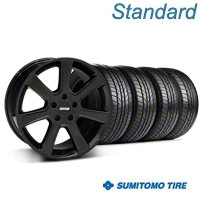 S197 Saleen Style Black Wheel & Sumitomo All Season Tire Kit - 18x9 (87-93 5 Lug Conversion) - American Muscle Wheels KIT||28357