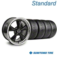 Bullitt Motorsport Black Wheel & Sumitomo Tire Kit - 18x9 (87-93 5 Lug Conversion) - American Muscle Wheels KIT||10082