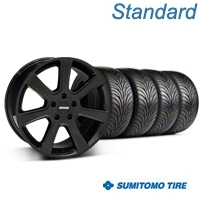 S197 Saleen Style Black Wheel & Sumitomo Tire Kit - 18x9 (87-93 5 Lug Conversion) - American Muscle Wheels KIT||28357