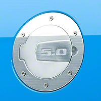 SHR Brushed Fuel Door - 5.0 Logo (10-14 All) - SHR S297-5001-S-50