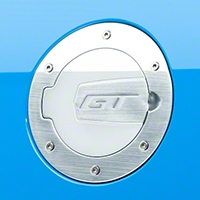 SHR Brushed Fuel Door - GT Logo (10-14 All) - SHR S297-5001-S-GT