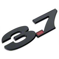 Black 3.7L V6 Fender Emblem - AM Accessories 3581