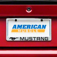 License Plate Frame - Black Pony w/ Black Mustang Lettering (79-14 All) - AM Exterior 5521LWH-BK
