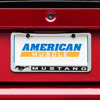 License Plate Frame - Black Pony w/ Mustang Lettering (79-14 All) - AM Exterior 5588LWH-BK
