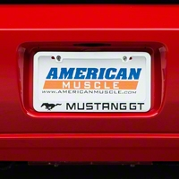 License Plate Frame - Black Pony w/ Mustang GT Lettering (79-14 All) - AM Exterior 5522LWH-BK