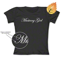Mustang Girl Rhinestone Embelished Black T-Shirt - Women